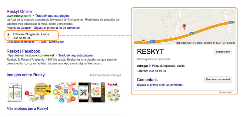 Primers llocs a Google